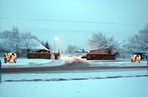Varde Kaserne. Hovedvagten i sne